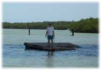 A man standing on a floating Waterways Obstruction
