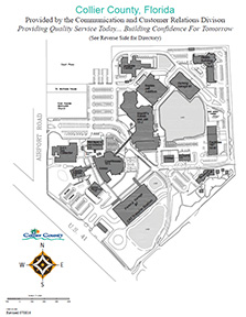 Line drawing of Collier County Complex. Building and parking locations illustrated.