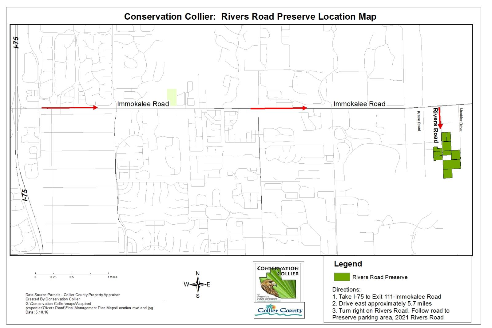 Rivers Road Preserve Collier County FL - Florida map rivers