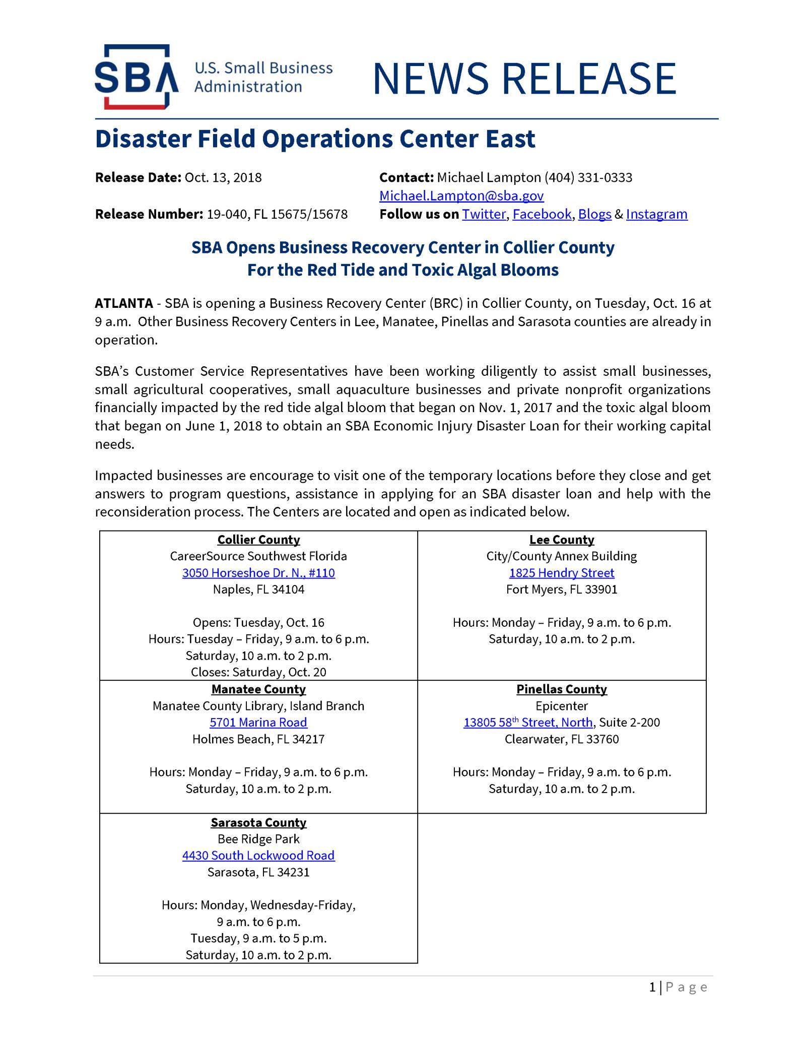 Disaster Field Operations Center East Collier County Fl