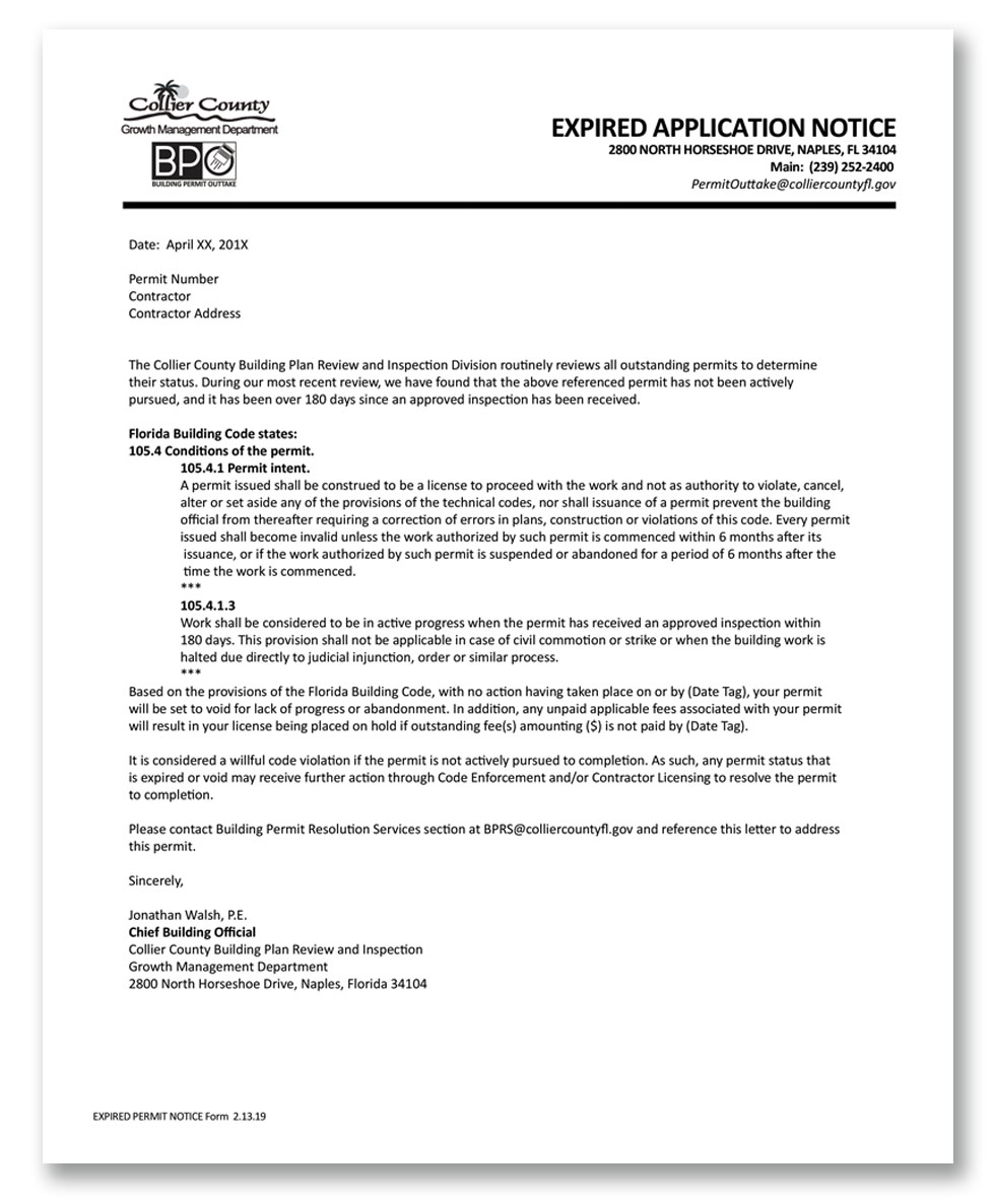 EXPIRED APPLICATION NOTICE IMAGE