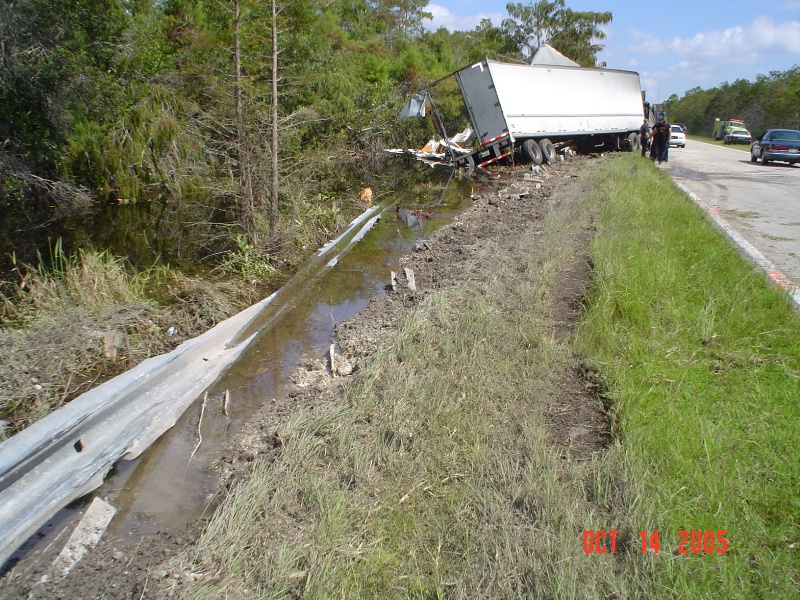 truck wreck resulting in pollutant spills