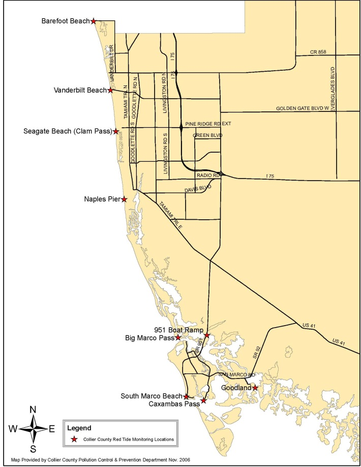 Red Tide Sample Location Map