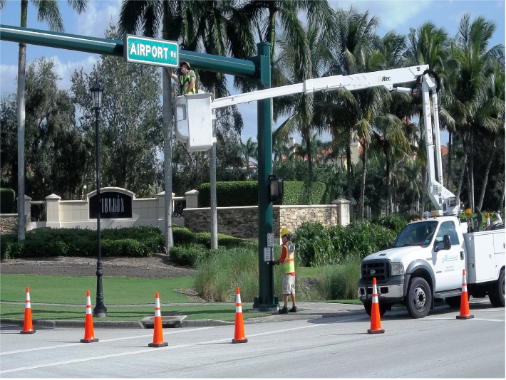 Traffic Signal Repair Crew working at Airport Road