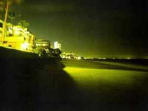 Lights shining on the beach