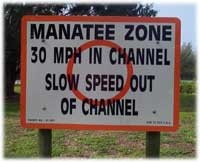 Manatee Zone 30 mph in channel slow speed out of channel