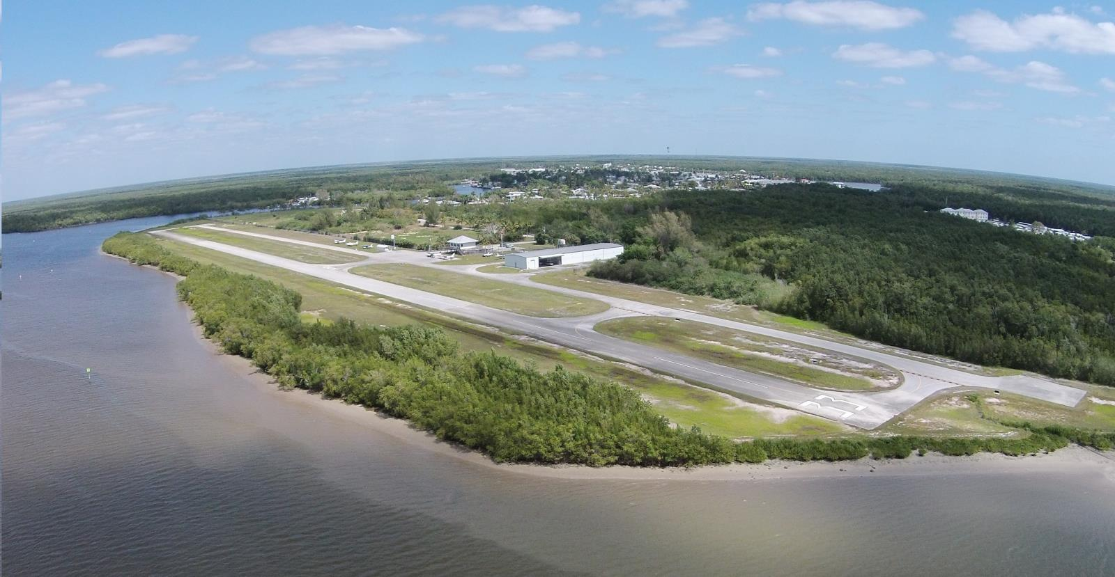 aerial view of everglades airport runways