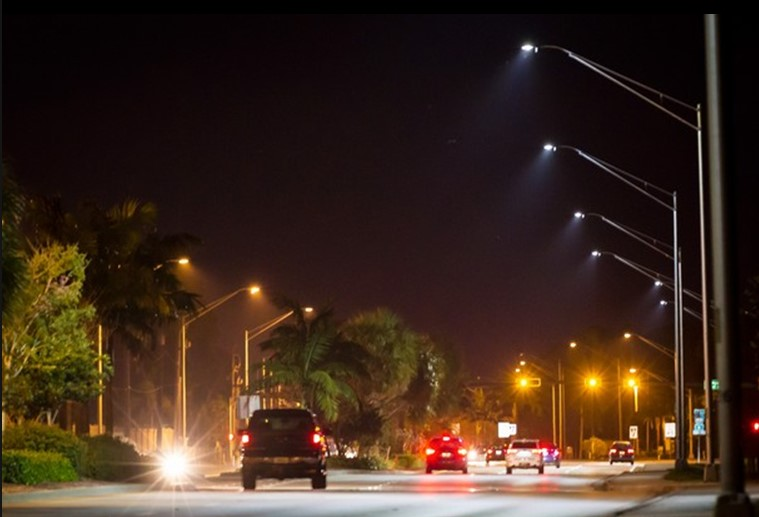 LED street lights at night