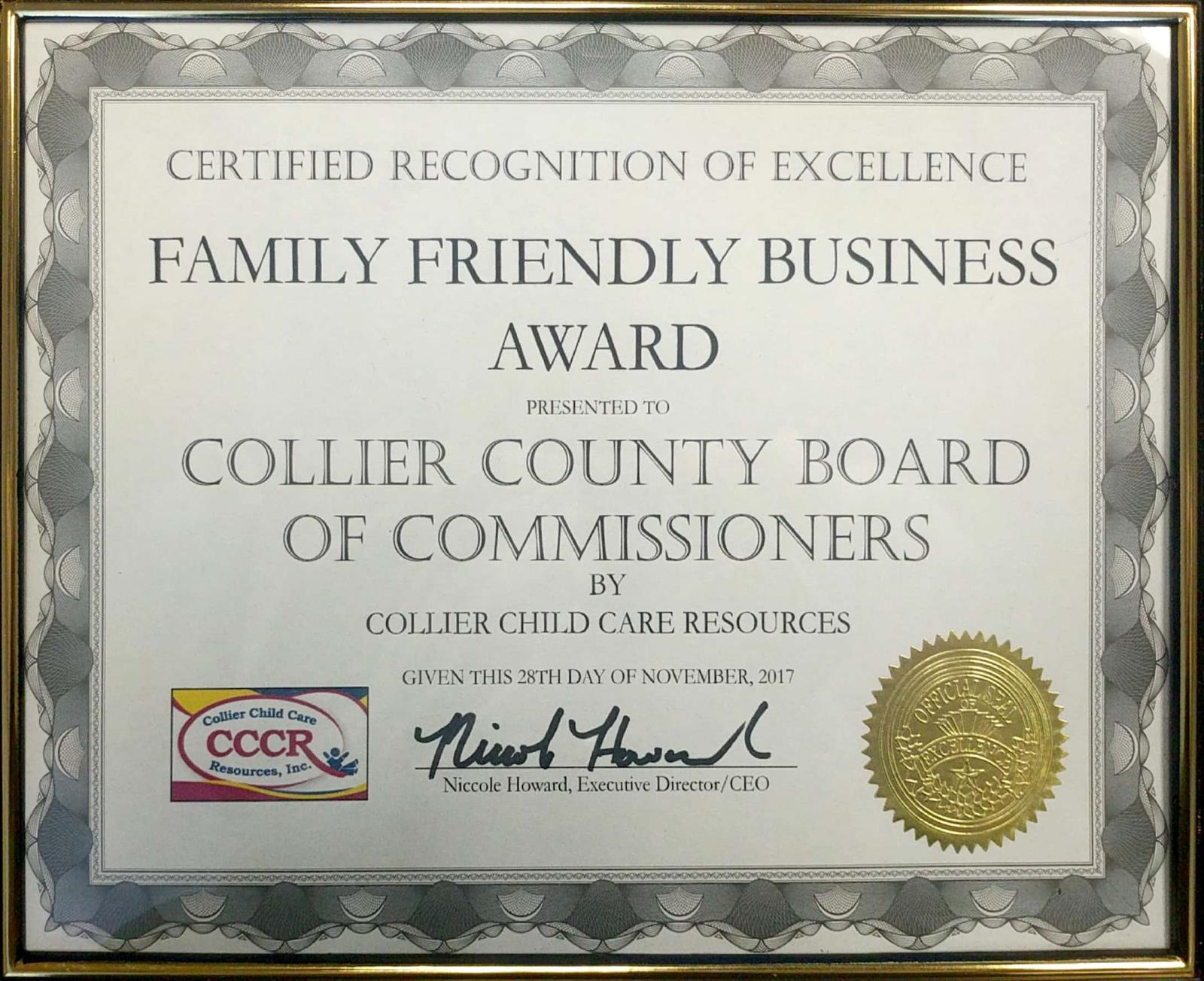 Family Friendly Award Nov 2017 to Collier County Government