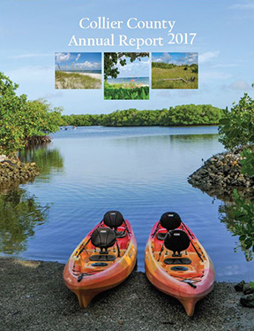 Collier County Annual Report 2017 Cover with two kayaks on Rookery Bay