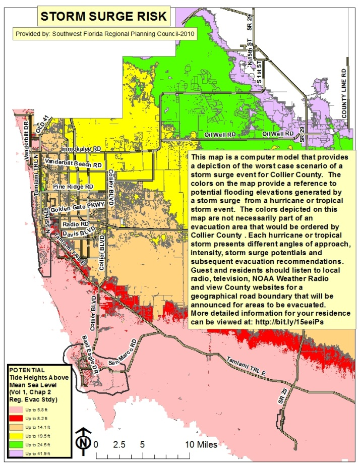 Collier County Wildfire Map.Collier County Florida Storm Surge Map Collier County Fl
