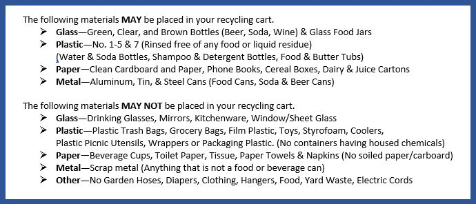 Acceptable Recyclables List