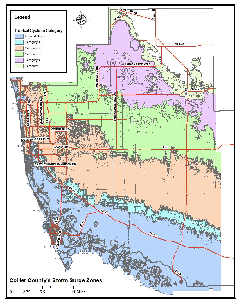 Map Of Collier County Florida Collier County Florida Storm Surge Map | Collier County, FL